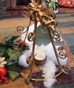 Christmas tree gold medal candelabra with Christma